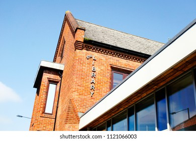 Bury St Edmunds, UK - May 15 2018: The outside of the public library in Bury St Edmunds, UK