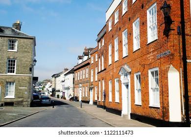 Bury St Edmunds, UK - May 15 2018: Tudor and georgian town houses in Bury St Edmunds, UK