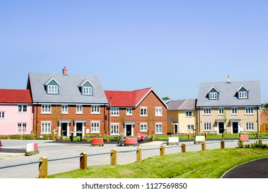 Bury St Edmunds, UK - May 15 2018: New build homes in the Larke Grange development on a sunny day