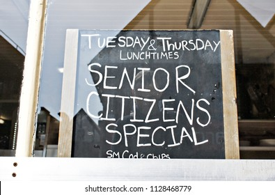 Bury St Edmunds, UK - May 15 2018: A sign in a fish and chip shop in the UK offering discounts for senior citizens