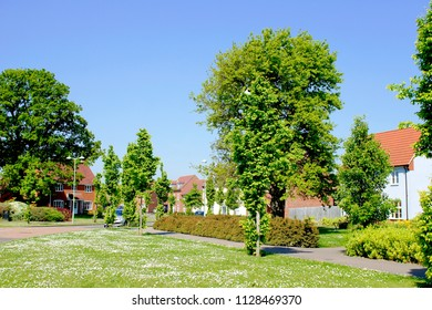Bury St Edmunds, UK - May 15 2018: Modern homes in the Moreton Hall development on a sunny day