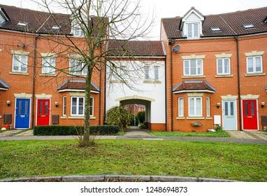 Bury St Edmunds, UK - November 22 2018:  Modern town houses on the Moreton Hall estate