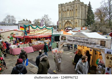 Bury St Edmunds, UK - November 22 2018: Stalls at the annual Bury St Edmunds christmas fayre
