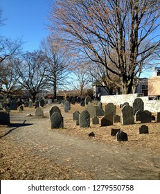 Burying Point Cemetary in Salem Massachusetts in winter, the oldest burial ground in the city
