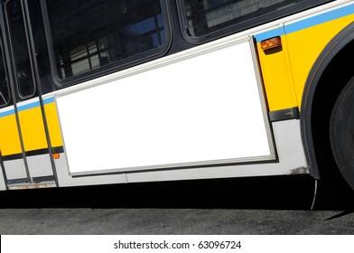 Bus advertising. Blank billboard on bus side, white copy space, frame, city street