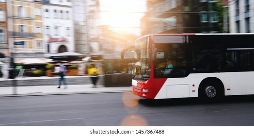bus in city traffic in motion blur