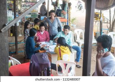 a bus company tiket counter at the mainroad in the city of Preah Vihear city of Cambodia.  Cambodia, Kampong Thom, November, 2017,