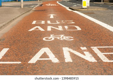 Bus and cycle lane road markings