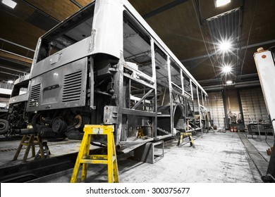 a bus frame structure during the renovation of the repair shop
