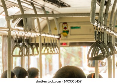 bus grab handles moveable straps.