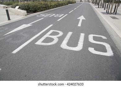 Bus Lane Arrow in Urban Setting