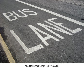 Bus lane road marking, sign