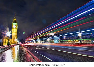 Bus Lane in Westminster Bridge, London - England