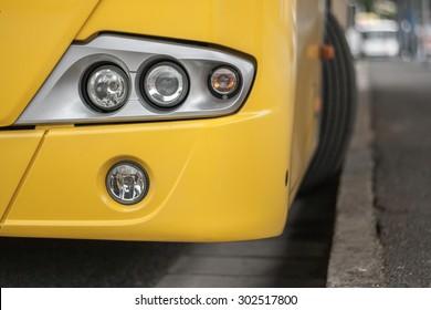 bus lights on bus station