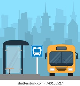 Bus near the bus stop in the city. Public transport. Cityscape on background. Ground city transport. Raster illustration