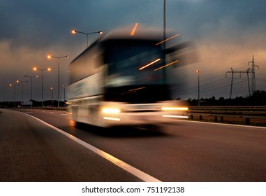 Bus on the highway, the vehicle on the move is blur