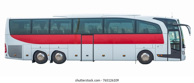Bus on isolated white background, side view