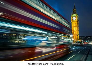 Bus on the Westminster bridge in London, UK.