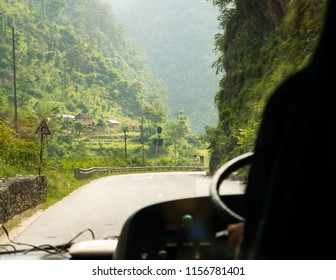 Bus ride on Prithvi Highway between Kathmandu and Pokhara in Nepal