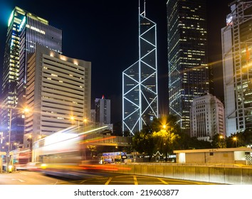 A bus rushes in Hong Kong central district. Caputred with long exposure