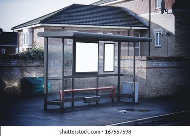 Bus shelter with blank signs