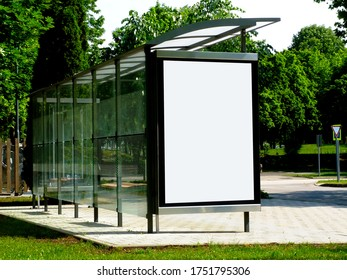 bus shelter composite. blank poster and advertising billboard sign. background image for mock-up. replace with your own ad. raster type empty white place holder. bust stop. transit and transportation.