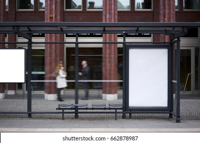 Bus station billboard with blank copy space screen for your advertising text message or promotional content, empty mock up Lightbox for information, stop shelter clear poster in urban city scene