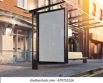 Bus station with blank banner on a street. Sunny day. 3d rendering