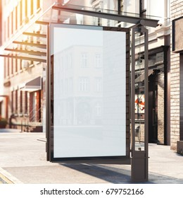 Bus station with blank banner on a street. Bright day. 3d rendering