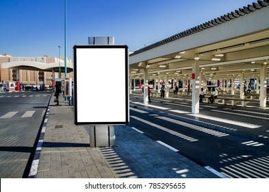 In a bus station blank white isolated Billboard with Clipping Path Outdoor Space for Advertisement