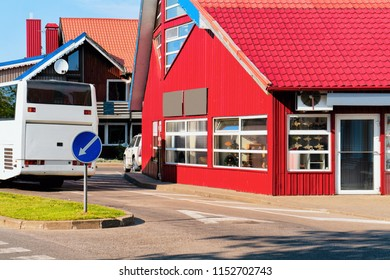 Bus station building architecture at Nida resort town near Klaipeda in Neringa in the the Baltic Sea and the Curonian Spit in Lithuania.