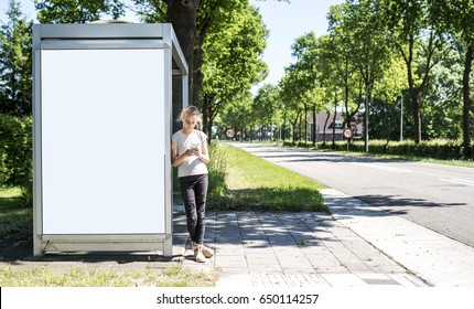 Bus stop abri or billboard mockup