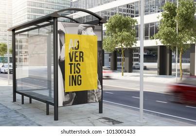 bus stop advertising billboard on the street 3d rendering