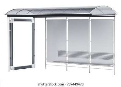 Bus Stop with advertising panel, 3D rendering isolated on white background