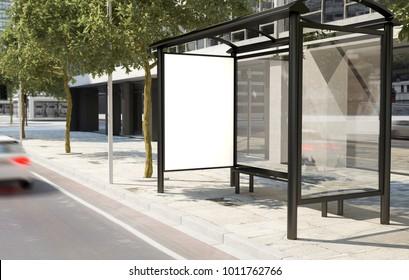 bus stop billboard 3d rendering
