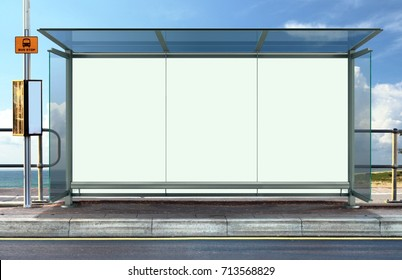 Bus stop with blank advertising board