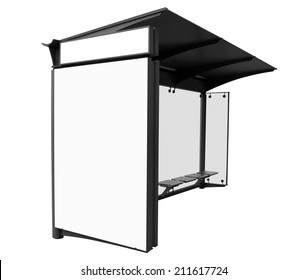 Bus stop with blank banners isolated on white background. Clipping Path included.