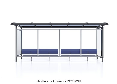 Bus stop with blank billboard mock up isolated on white background. 3d illustration
