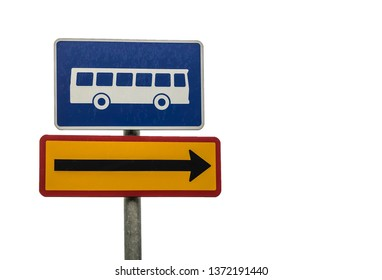 bus stop direction sign isolated on white