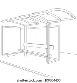 Bus Stop. Empty Design Template for Branding. Rasterized Version
