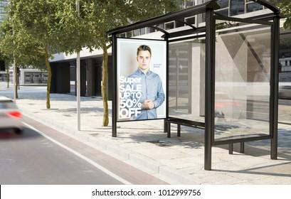 bus stop fashion advertising billboard 3d rendering