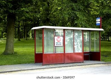 Bus stop in rural setting