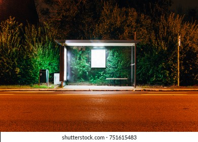 bus stop shelter at night
