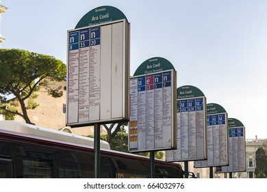 Bus stop signs at piazza d'Aracoeli in rome, Italy