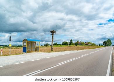 Bus stop with stork nest, Mazuren, Poland