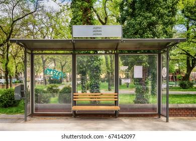 Bus stop in Subotica, Serbia