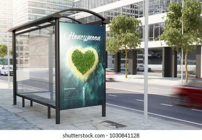 bus stop travel poster billboard on the street 3d rendering