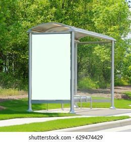Bus stop with white copy-space