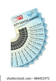 Bus tickets from city center to airport and return - concept image