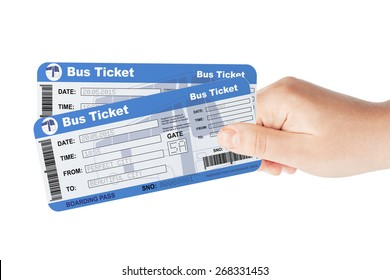 Bus tickets holded by hand on a white background
